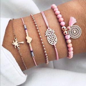 Jewelry - Pink, Pinapple gold bracelet set